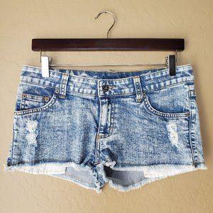 Carmar Distressed Frayed Acid Wash Denim Shorts